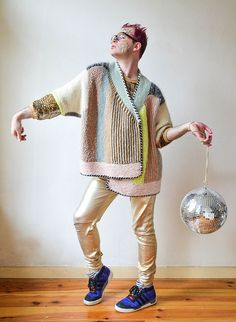 """Ravelry pattern: Penguono by Stephen West. Wild striped cardigan by a well known """"crazy"""" designer :)"""