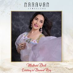 The evergreen beauty Madhuri Dixit - Nene enriching in our diamond ring.  #DiamondsByNJ #DiamondsByNarayanJewellers #NJ #NarayanJewellers Madhuri Dixit, Mona Lisa, Jewels, Diamond, Celebrities, Rings, Artwork, Stuff To Buy, Celebs