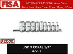 "JGO 9 COPAS 1/4"" 47207. Medidas de las copas de 4mm hasta 12mm- FERRETERIA INDUSTRIAL -FISA S.A.S Carrera 25 # 17 - 64 Teléfono: 201 05 55 www.fisa.com.co/ Twitter:@FISA_Colombia Facebook: Ferreteria Industrial FISA Colombia"