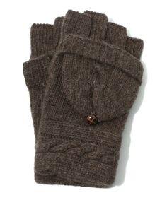 MICHEL KELIN HOMME(ミッシェルクランオム)のフィンガーレスケーブルニットグローブ(WEB別注)(手袋)|ダークブラウン