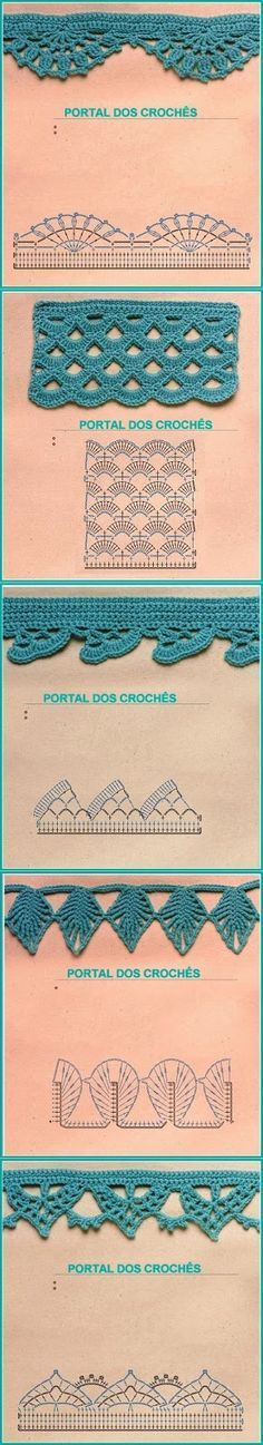 If you looking for a great border for either your crochet or knitting project, check this interesting pattern out. When you see the tutorial you will see that you will use both the knitting needle and crochet hook to work on the the wavy border. Crochet Boarders, Crochet Edging Patterns, Crochet Lace Edging, Crochet Motifs, Crochet Diagram, Crochet Chart, Crochet Trim, Irish Crochet, Crochet Designs