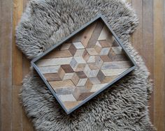 Vassoio di legno | Vassoio di legno | Legno di recupero | Piatto decorativo | Rustico geometrico | Tavolo vassoio | Cubo Mix | Blu grigio vassoio |