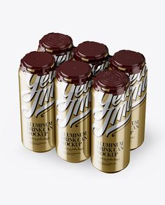 Pack with 6 Metallic Aluminium Cans with Plastic Holder - Half Side View (High-Angle Shot)