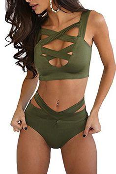 01b8a0f295 Prograce Women s Sexy Criss Cross High Waist Bandage 2PCS Bikini Set  Swimsuit