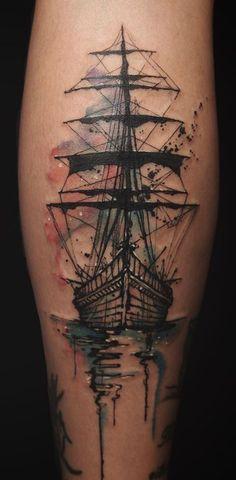 Antique Ship Tattoos To Convey Your Feelings Of Nostalgia - Vintage ship tattoos - Ocean Tattoos, Forearm Tattoos, Body Art Tattoos, Tatoos, Calf Tattoos, S Tattoo, Tattoo Bein, Vintage Tattoos, Tattoo Sleeve Designs