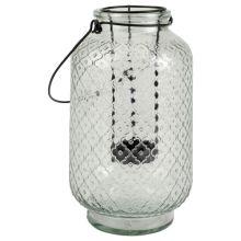 lantaarn/theelichthouder glas 14x14x24cm