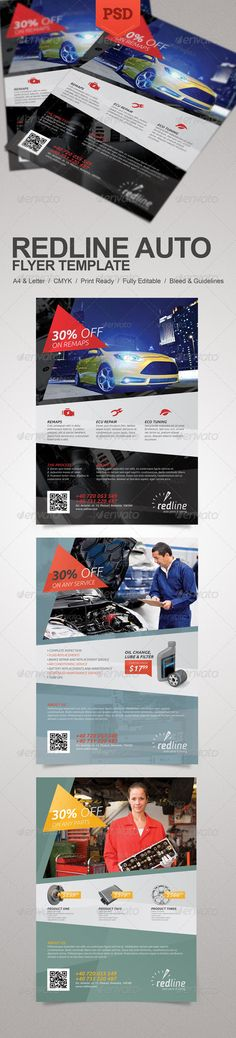 Redline Auto Flyer #GraphicRiver Promote your business with a unique and creative flyer template package. Perfect for a wide range of car repair, parts or tuning related businesses like: Repair Service, Auto Mechanic, Auto Parts Shop or Car Engine Tuning. Simple to work with and highly customizable, it ca be easily adjusted to fit your needs. umAdobeCSVersion: CS PrintDimensions: 8.5x11 Tags:
