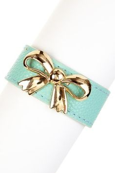 Mint & Gold Bow Leather Bracelet: http://www.hautelook.com/index/index/mk/invite/inv_code/jb651/invite_id/6104927?sid=99990