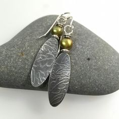 Sterling silver and green Pearl leaf earrings £40.00