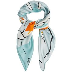 Fendi Bird of Paradise-print silk scarf ($191) ❤ liked on Polyvore featuring accessories, scarves, blue multi, silk scarves, silk shawl, blue scarves, patterned scarves and fendi scarves