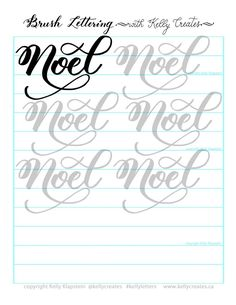 kelly creates FREE printable for practice brush lettering and calligraphy, for Christmas and holidays Brush Lettering Worksheet, Calligraphy Worksheet, Hand Lettering Practice, Hand Lettering Alphabet, How To Write Calligraphy, Calligraphy Letters, Calligraphy Tools, Letter Worksheets, Printable Worksheets