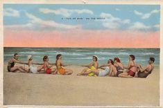 Tug of war at the beach.