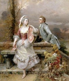 Lovers in a garden by Cesare Auguste Detti.