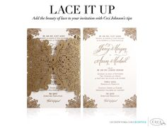 Lace It Up - Add the beauty of lace to your invitation with Ceci Johnson's tips. #cecinewyork #lace #wedding #invitations #custom #lasercut #gold