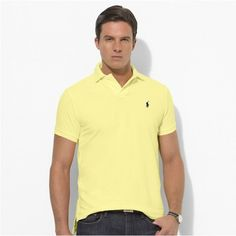 Ralph Lauren Men Custom-Fit Mesh Polo Light Yellow http://www.