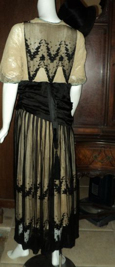 Titanic Era Edwardian Gown Dress Black and Cream by Bellasoiree, $550.00
