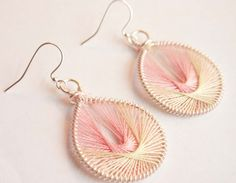 Pink and Green Peruvian Thread Earrings by mlwdesigns on Etsy, $12.00