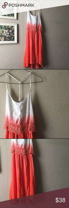 """Coral Dip Dye Dress New with tags//T-back lined chiffon dress//Elasticized waistband//crochet trim//This dress is simply gorgeous//Perfect for dressing up or down and is comfortable for all day wear at music festivals or whatever your summer fun plans consist of  Measurements: Total Length @ approx. 40"""" Armpit to Armpit @ 19"""" Armpit to Elasticize waist band @ 8""""  Material: Self--100% Rayon//Lining--100% Polyester Dresses"""