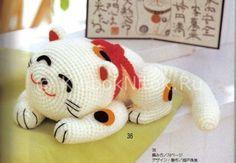 Белый японский кот   Вязание для девочек   Вязание спицами и крючком. Схемы вязания.