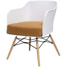 Stoel Cooper Armleuningen - Wit met oker - DesignOnline24
