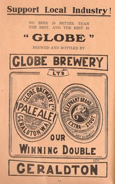 """No beer is better than the best, and the best is """"Globe"""" -- Globe Brewery Ltd, Geraldton Australian Beer, Australian Vintage, Vintage Prints, Vintage Posters, Vintage Advertisements, Ads, 1920s Theme, Beer Poster, Graphic Posters"""