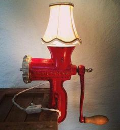 "Home Decorations: House Decorations Ideas Vintage House Decoration Ideas Vintage Rusty Remakes Signature ""Lady in Red"". Meat grinder from a red Husqvar . Retro Home Decor, Diy Home Decor, Old Kitchen, Kitchen Items, Brass Lamp, Gold Lamps, Pendant Lamps, Steampunk Lamp, Mid Century Lighting"