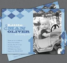 Boy First Birthday Invitation - Our Little Man - Argyle - Photo Printable Invite - 1 Year Old - ANY Age - ANY Color
