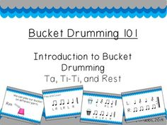 Introduce your kiddies to the world of bucket drumming with this introduction kit! This file includes 152 pages of rhythms and activities to get your students moving! This introductory file uses quarter notes, quarter rests, and paired eighth notes to create simple 4 beat rhythmic patterns.