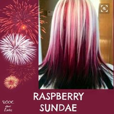 Raspberry Sundae Hair Colour Inspiration ♡ Rock your Locks -I could never pull this off but it's super cute! Hair Color And Cut, Cool Hair Color, Hair Colors, Vivid Hair Color, Ombré Hair, New Hair, Hair Dye, Black Hair Blonde Tips, Blonde Pink