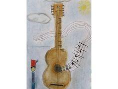 """Un papá es cómico, domador, soldado, superhéroe, cuentacuentos, mecánico, conductor, colega, trapecista… Pero sobre todo, un papá es guay. Para un papá guay, Sofía ha hecho un dibujo inspirada en la canción de Silvio Rodríguez titulada """"la guitarra del joven soldado""""."""