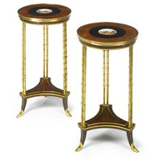 A pair of Louis XVI style micromosaic-inlaid mahogany and gilt bronze guéridons, the plaques depicting the Colosseum<br>the plaques late century European Furniture, Classic Furniture, Antique Furniture, Modern Art, Contemporary, French Empire, Louis Xvi, Decoration, Home Furnishings