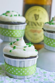 Chocolate Stout Cupcakes with vanilla bean buttercream in mini baking cups.