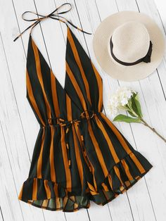 Shop Plunging V-neckline Striped Surplice Frill Romper online. SheIn offers Plunging V-neckline Striped Surplice Frill Romper & more to fit your fashionable needs. Cute Summer Outfits, Spring Outfits, Trendy Outfits, Cute Outfits, Summer Dresses, Teen Fashion, Fashion Clothes, Fashion Outfits, Fashion Women