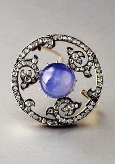 An antique silver, gold, diamond and sapphire brooch, possibly Russian or French, late to early century. The piece is very reminiscent of work by Bolin. Ruby And Diamond Necklace, Diamond Brooch, Diamond Necklaces, Silver Necklaces, Diamond Jewelry, Diamond Choker, Choker Necklaces, Gold Jewelry, Jewlery