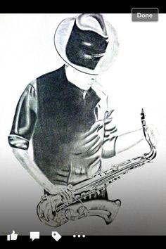 #pencilart #art #drawing Jazz player #wall art