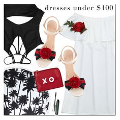"""""""Zaful dress"""" by mada-malureanu ❤ liked on Polyvore featuring Gucci, Barneys New York, Clinique, dress, swimsuit, dreamydress, zaful and dressunder100"""