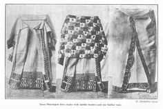 Three Phormium fibre cloaks with taniko borders and one feather cape. H. Hamilton photo, only wish it was in colour.