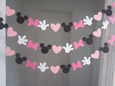 minnie mouse inspired paper garland banner decorations birthday clubhouse black white 2 shades of pink. $10.00, via Etsy.