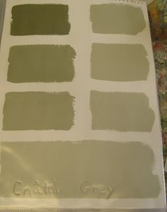 CHATEAU GREY (grey green) - The colour on the top left of each page is the original colour, and then each lighter shade has been mixed with one extra part of Old White. So, the second swatch is mixed with one part Old White, then two parts, then three...