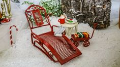 Santa's Red Lounge Chair Miniature to Rest With Cocoa, Cookies and His List by FairylandCraftique on Etsy