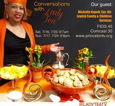 Good morning, get your china teacups and enjoy the show! Conversations with Lady Tea TV show  Our Guest: Michelle Napell, Exe. Dir. Jewish Family & Children Services, chats with me about the services they offer and the uniqueness of their food pantry! Sat. 7/16, 7/23 @7am Sun. 7/17, 7/24 @6pm www.princetontv.org Comcast 30 & FIOS 45  #philanthropy #nonprofit #foodpantry #jewishservices #jewish #family #children #child #executivedirector  #new  #story #journey #ladytea #ladyteatv