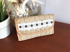 70s Floral Fabric Wallet / Quilted Boho Fabric Wallet and Checkbook Holder / Beige with White Lace Pocketbook / Hand Made Hippie Wallet This is a