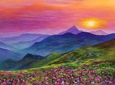 Free Mountain Sunset Acrylic Painting Tutorial by Angela Anderson #FredrixCanvas #princetonbrushes #art
