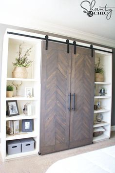 DIY Sliding Barn Door Console I like the idea of adding barn doors to a murphy bed for the guest room Barn Door Media Console, Media Cabinet, Barn Door Tv Cabinet, Cupboard Doors, Diy Sliding Barn Door, Sliding Doors, Diy Door, Diy Barn Door, Door Hinges