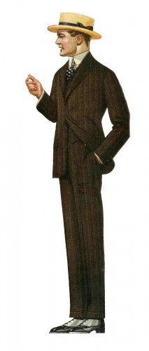 Edwardian men's suit fashion, 1917 at vintagedancer.com