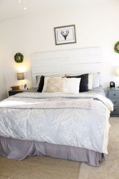 DIY Headboard Ideas - Farmhouse Wood Headboard - Easy and Cheap Do It Yourself Headboards - Upholstered, Wooden, Fabric Tufted, Rustic Pallet, Projects With Lights, Storage and More Step by Step Tutorials http://diyjoy.com/diy-headboards