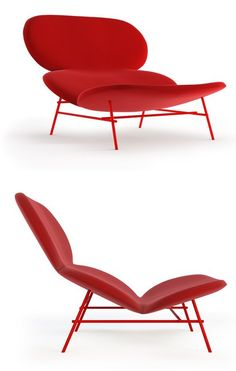 Upholstered relaxing #armchair KELLY L by Tacchini Italia Forniture | #design Claesson Koivisto Rune #red