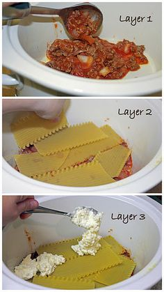 Crock-pot Lasagna* Another pinner says: Don't be afraid of adding enough noodles to this one. Great simple recipe for crockpot lovers.
