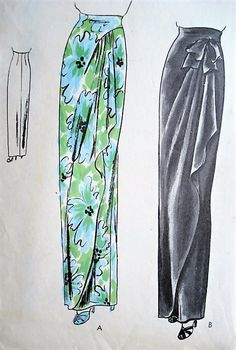 1940s GLAMOROUS Slim Evening Skirt Pattern VOGUE 5295 Wrapped Front With Cascade Drapery Stunning Design Waist 26 Vintage Sewing Pattern