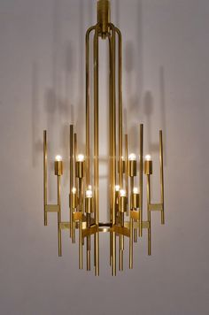 Sciolari brass chandelier, 12 lights, 1970`s ca, Italian in Vintage Sciolari Lighting from Roomscape                                                                                                                                                                                 More